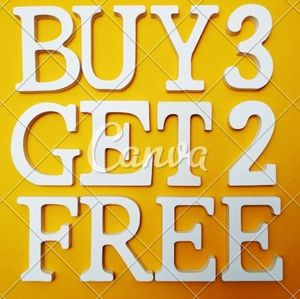 Sale #2 buy 3 items and get 2 free
